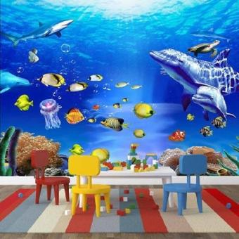 Custom 3D Coral Dolphins Fish Reef Floor Mural Photo FlooringWallpaper Home Wall Decal for bathroom living room - intl