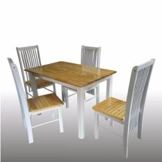 Decoku Holly Dining Set 1`Meja Makan 4 Kursi Makan Kayu - Putih Coklat - Jabodetabek Only FREE RAKIT