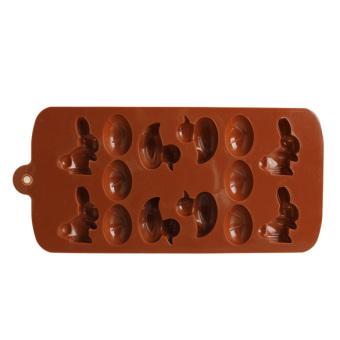 Dibetulkan 14 telur hewan gula silikon Cokelat Cetakan Kue Cetakan Jelly (Coklat)