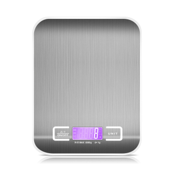 Digital Kitchen Scales Slim Digital profesional dengan Stainless Steel untuk Platform timbangan dapur 5 kg abu-abu - International