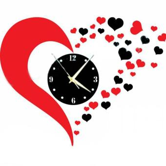 DIY 3D Hearts Mirror Wall Clock Living Room Bedroom Bathroom Decorcolor:Red & Black - intl