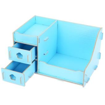 Detail Gambar DIY Multifunctional Wooden Cosmetic Desktop Storage Box Make-up Organizer - intl dan