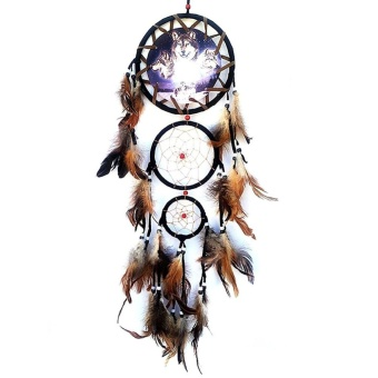 Dream Catcher Wall Hanging Decoration Ornament-Wolf - intl