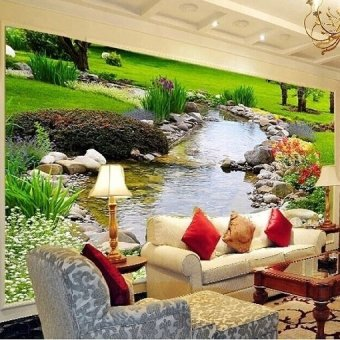 Eco-friendy 3d garden creek background for sofa tv room bedroom living room wallpaper murals christmas gift