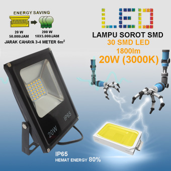 EELIC KABPTV 20W Cahaya Kuning 3000K Sinar Cahaya Sangat TerangLampu Sorot 30 SMD LED 220V Hemat ...