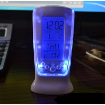 Eigia LED Night Light Backlight Alarm Clock with Temperature s9859Jam Meja Waker weker - Putih