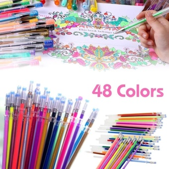 Elife 48 Colors Gel Pens Glitter Coloring Drawing Painting Craft Markers Stationery 0.8mm - intl