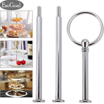 Harga EsoGoal [New Version] 3 Tier Cake Stand Handle Fruit Plate HandleFittings Round Hardware Rod (Plates are NOT inlcuded) - intl