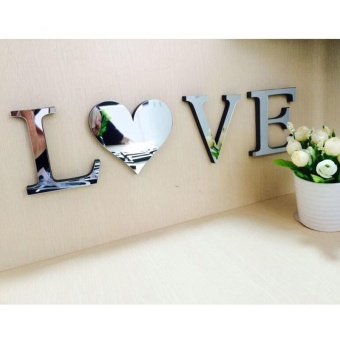 "EVA Wedding Wall Sticker ""Love"" Letters Home Decoration EnglishLetters 3D Mirror Wall Stickers Alphabet For Logo A - intl"