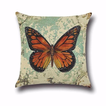 Fancyqube Vintage Butterfly Cotton Linen Pillow Case Sofa Throw Cushion Cover Home Decor H01 - intl