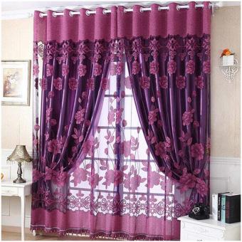 Fashion 250 cm x 100 cm cetak bunga kain pual tirai pintu jendela tirai kamar pembagi