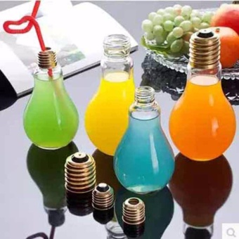 Fashion Plastic Light Bulb Shaped Bottle Drink Cup Water Bottle Party - intl