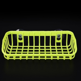 FHEAL Kitchen Double Suction Cup Sink Shelf Soap Sponge Drain Rack Kitchen Sucker Storage Tool Green 21*10*5CM - intl
