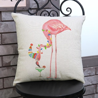 Flamingo Painting Linen Cushion Cover Throw Waist Pillow Case Sofa Home Decor F - intl