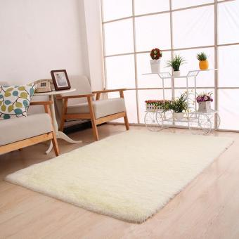 Fluffy Rugs Anti-Skid Shaggy Area Rug Dining Room Bedroom CarpetFloor Mat White - intl