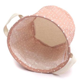 Foldable Cotton Linen Washing Clothes Laundry Basket Sorter Bag Hamper Storage Pink - Intl - 3