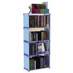 Godric Rak Buku Portable SINGLE / Lemari Serbaguna 5 Layer 4 Susun 50.5 x 30.5 x 144 CM - Biru Polkadot