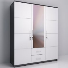 gold whitty lemari pakaian 3 pintu putih
