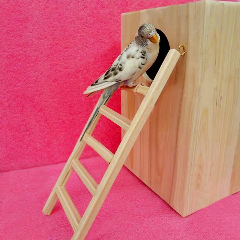 Gracefulvara lucu hewan peliharaan burung beo burung Bayan tangga kayu Rodent tikus mainan Hamster kandang Tupai - S
