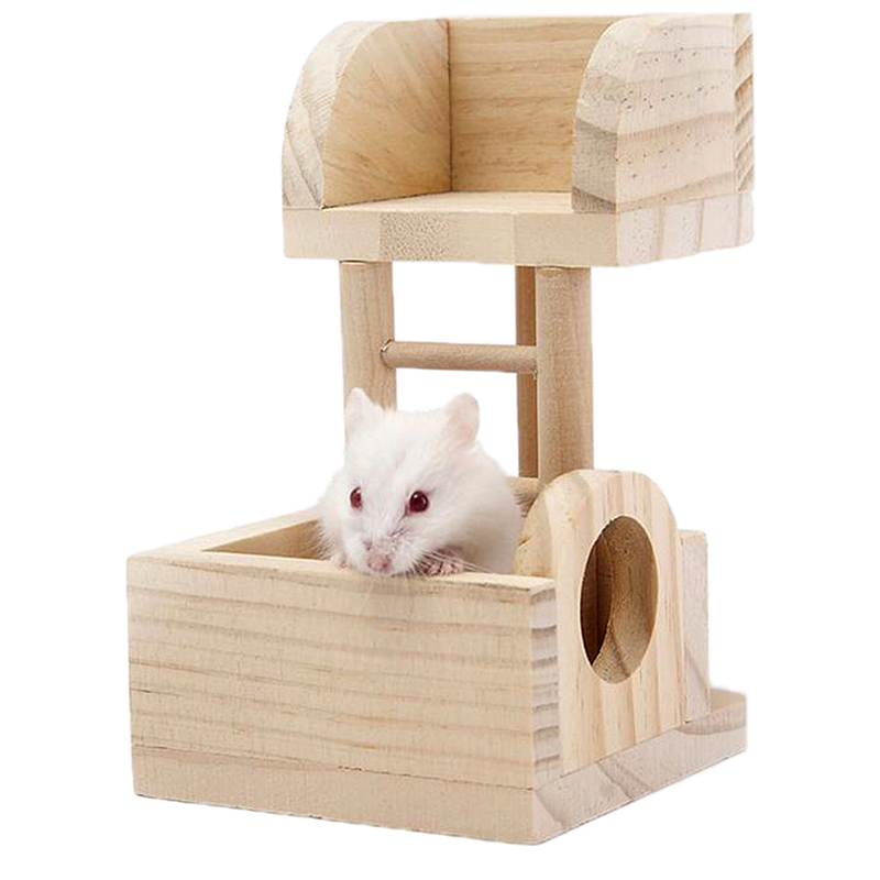 Gracefulvara Wooden Platform Rat Mouse Hamster Lookout Tower Toy Playground Natural Exercise