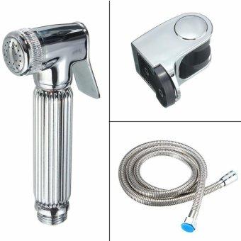 Hand-Held Bath/Toilet Shower Head Nozzle Hose Holder Bidet Spray Silver