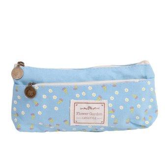 Hanyu Canvas Pencil Box Double Zipper Pen Bags Storage Pouch Blue