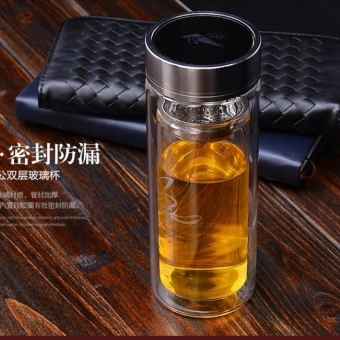 Harga HL Fulkwong Licensing 703 Transparent Double-Layer Glass MugWithcover Cup Cup Screen Portable Cup - intl