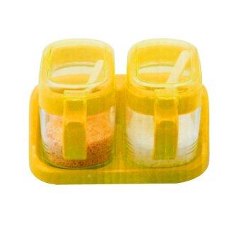 Home-Klik Tempat Bumbu Gelas Segi - Set 2 buah dan Rak - Orange -