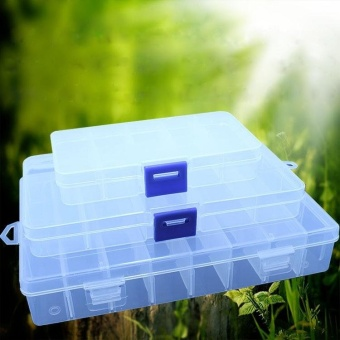 Hot Sales Adjustable 15 Compartment Plastic Storage Box Cosmetic Case - intl