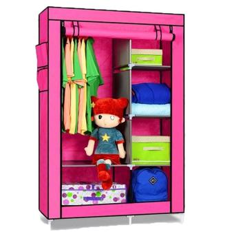 Harga Cloth Rack With Cover Rak Baju Multifungsi Multifunction Wardrobe - Dark Pink