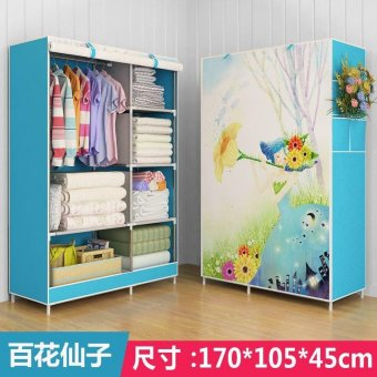 Harga One Piece Roll Up Curtain Clothes Design Wardrobe Home Furniture (style: Flower, Color: Blue) - intl