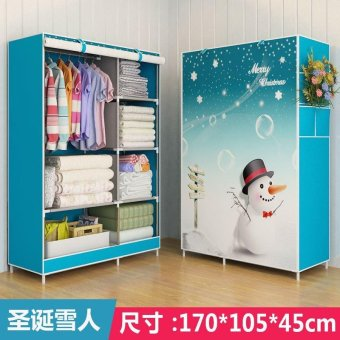 Harga One Piece Roll Up Curtain Clothes Design Wardrobe Home Furniture (style:Snowman, Color: Blue) - intl