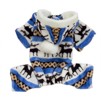 Harga Winter Warm Pet Dog Clothes Deer Dos Costume Clothing Jacket Teddy Hoodie Coat blue&S
