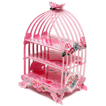 Harga Birdcage Cupcake Cardboard Cake Stand Vintage Wedding Tea Party Display Holder Pink- intl