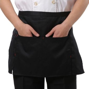 Harga Simple Style Unisex Chef Waiter Barista Half Apron(Black) - intl