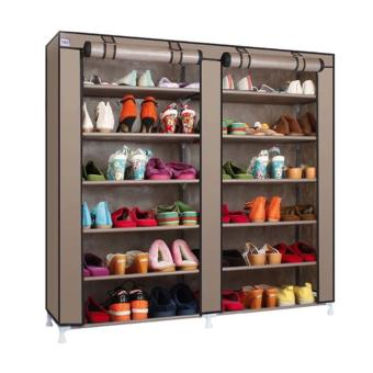 Harga Double Shoe Rack 7th 12 Layers with Dust Cover - Rak Sepatu -