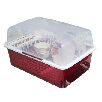 Harga Household kitchen plastic storage Box bowls and chopsticks/Red