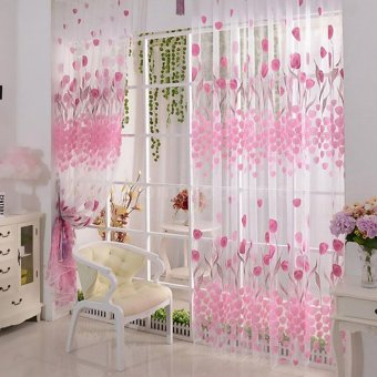 Harga CatWalk Tulip Voile Window Door Sheer Drapes Curtain Room Divider (Pink)