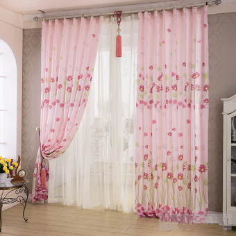 Sunflower Printed Curtains Short Curtain Window Curtain Drape Panel Sheer Pink- - intl