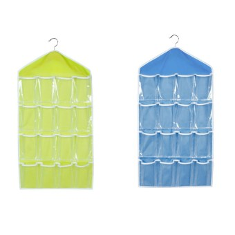 Harga PAlight 2pcs Foldable Wardrobe Hanging Storage Bag (Green+Blue)