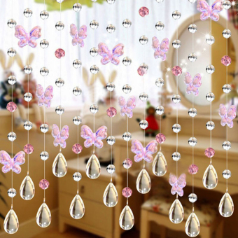 Gracefulvara 3.3FT Crystal Butterfly Curtains Beads Window Door Curtain Passage Backdrop Wedding - Pink - intl