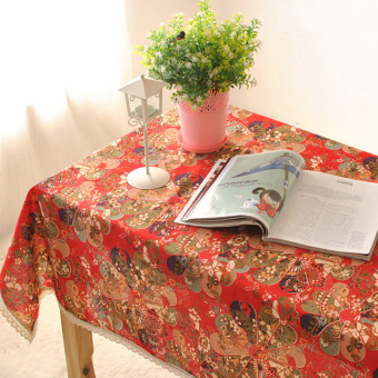 Harga Rondaful 1x red D:140*140 Linen tablecloth fabric table cloth tea table cloth dirt