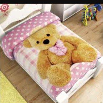 Selimut bulu Teddy bear planel karakter 3D kualitas import ukr 150x200
