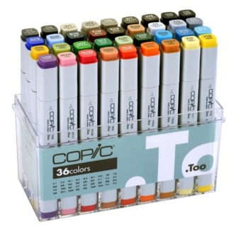 Harga COPIC Twin Marker 36 Colors with Bag Board and Hard Brush Type Smudge-Proof Art Pen Marker - intl