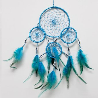 Harga Fang Fang Dream Catcher with Shell Four Circle Pure Color Indian Feather 40cm Overall Drop