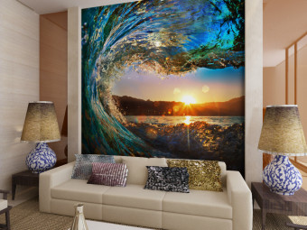 Eco-friendy 3d huge mural water rising in sunrise for bedroom sofa tv wallpaper