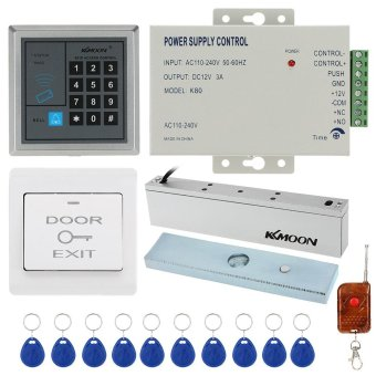 Harga KKmoon� DC12V 125KHz Door Entry Access Control System with Access Reader + 180KG Electric Magnet Lock + Power Supply + Push Button + 1*Remote Controller + 10*RFID Card - intl