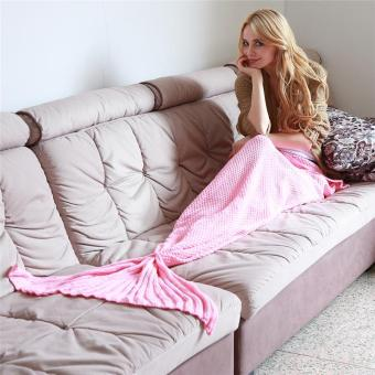 Harga Ai Home Knitted Mermaid Tail Blanket Adult Bed Sofa Sleeping Bag 180X90cm 1# (Pink)