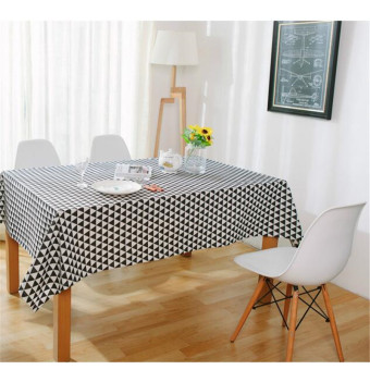 140*180CM Black and White Triangles Cotton Table Cloth Home Sofa Coffee Table Decor High Quality Tablecloth Table Cover for Home Decoration - intl