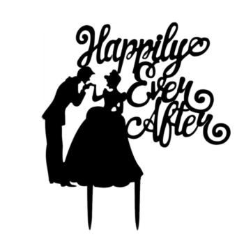 Harga LT365 Romantic Wedding Party Cake Topper Bride & Groom Happily Ever After Cake Decoration Supplies - Black - intl